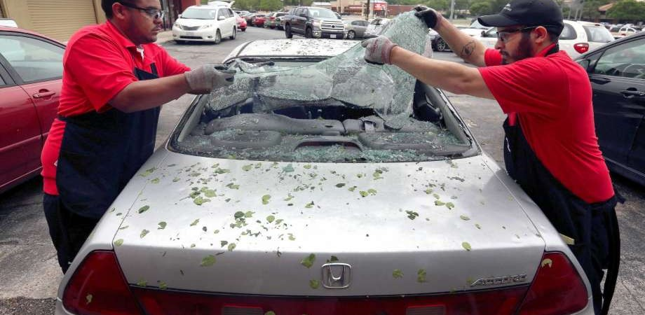 A car directly effected by the hailstorm.
